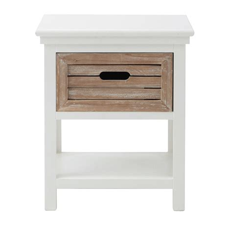 maison du monde lade wit houten nachtkastje met lade b 40 cm ouessant maisons