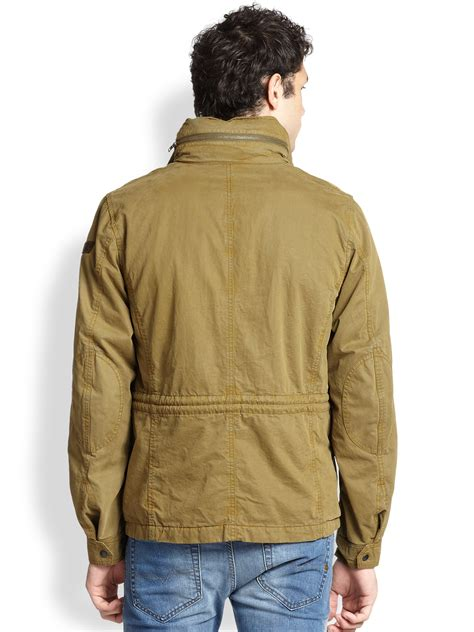 rugged sport coat diesel twill jacket in green for lyst