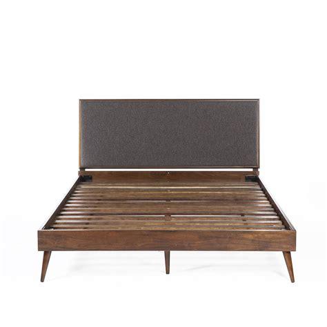 mid century queen bed jorgen queen bed with upholstered headboard wood slats