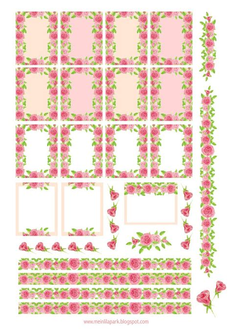 Printable Rose Stickers | free printable rose planner stickers ausdruckbare