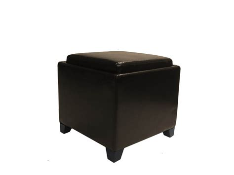 Contemporary Storage Ottoman With Tray Brown Ottoman With Storage