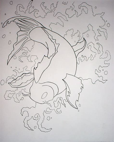 Two Koi Fish Outline by Outline Of Koi Fish By Xshaixhuludx On Deviantart