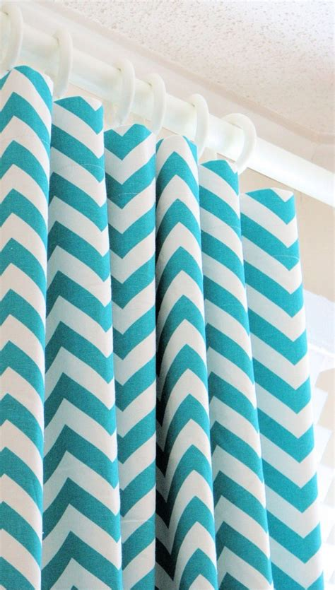 aqua and white chevron curtains shower curtain gray yellow aqua chevron and swirls by