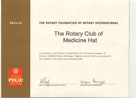 Rotary Certificate Of Appreciation Template medicine hat certificate of appreciation from ri