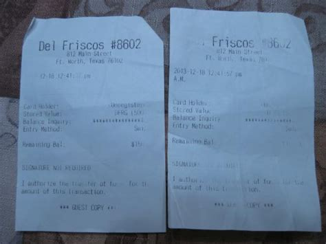 Del Friscos Gift Card - here s the receipts picture of del frisco s fort worth tripadvisor