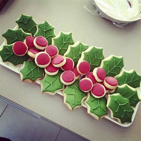 christmas holly leavessugar decorations 17 best images about cookies ideas on cookies