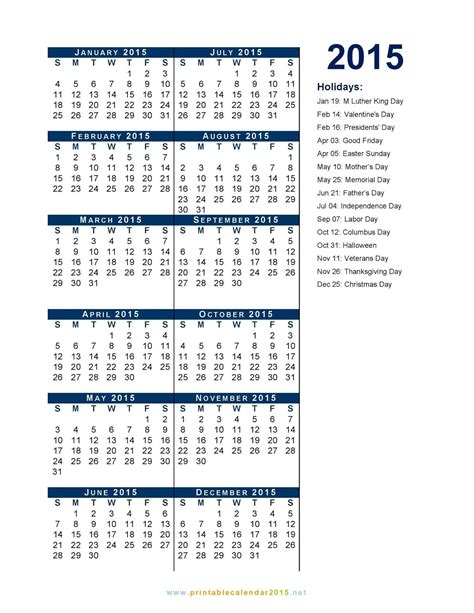 federal holidays 2015 calendar printable calendar