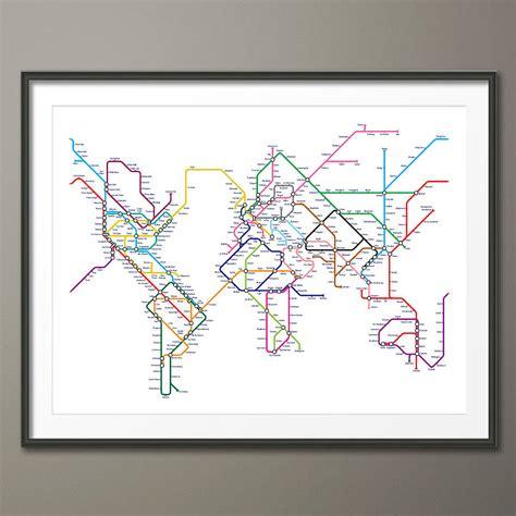 printable world map art subway tube metro world map art print by artpause
