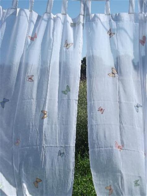 organdy curtains sheer white cotton organdy curtains embroidered butterfly
