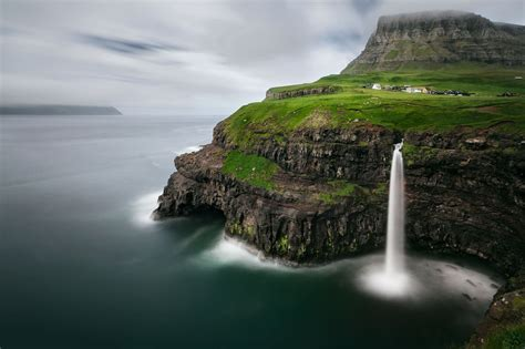waterfall island mulafossur waterfall faroe islands faroe islands
