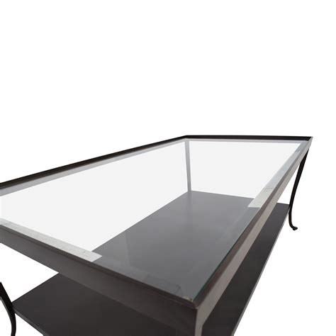 84 metal base with glass top coffee table tables