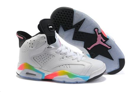 colorful jordans womens air 6 white colorful black 41174 305 shoes