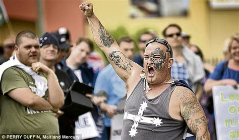 tattoo anti islam adolf hitler impersonator at reclaim australia s anti