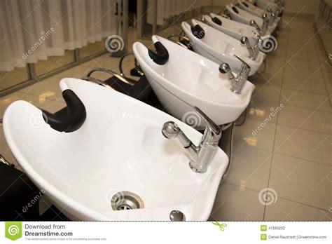 salon hair washing sinks womens hair wash sink hairdressing stations stock photo