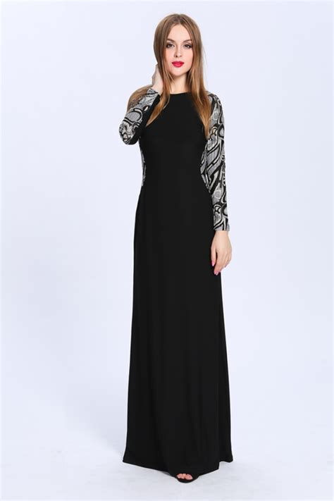 floor length black dress floor length black sleeve formal dress evening gown