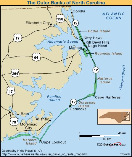 outer banks map the outer banks carolina maps 2017