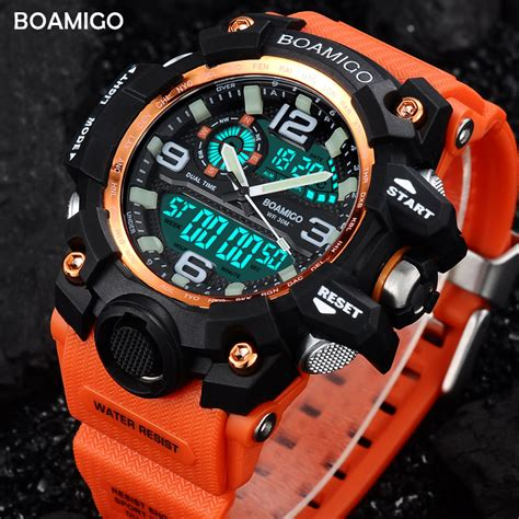 Jam Tangan Sport Digitec Original Time Water Proff 1 sports watches boamigo brand digital led orange shock swim quartz rubber wristwatches