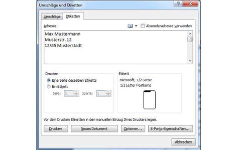 Etiketten Drucken Apple by Etiketten Erstellen Und Drucken Unter Microsoft Word