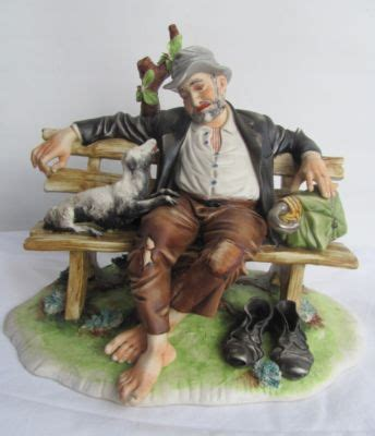capodimonte man on bench capodimonte tramp upon a bench with dog signed toni