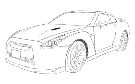 nissan skyline drawing outline nissan gtr r35 sketch by xrasnovax on deviantart