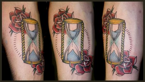 hourglass and rose tattoo wrist tippingtattoo