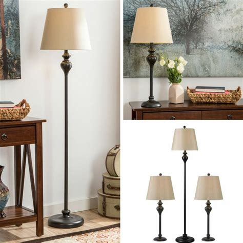 table floor lamp set vintage bronze contemporary lamps shade living room pair  ebay