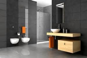 Dark grey bathroom tiles modern wood interior home