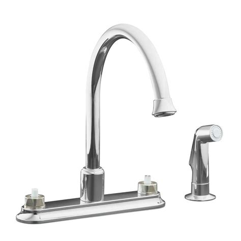 2 handle standard kitchen faucet in chrome hs8181210cp kohler coralais 2 handle standard kitchen faucet in