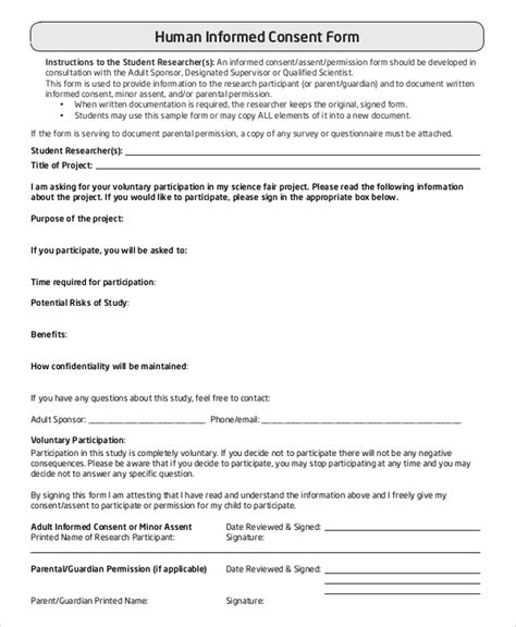 format informed consent sle informed consent form 9 exles in pdf word
