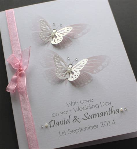 Wedding Cards Handmade - large handmade personalised butterflies delicate design