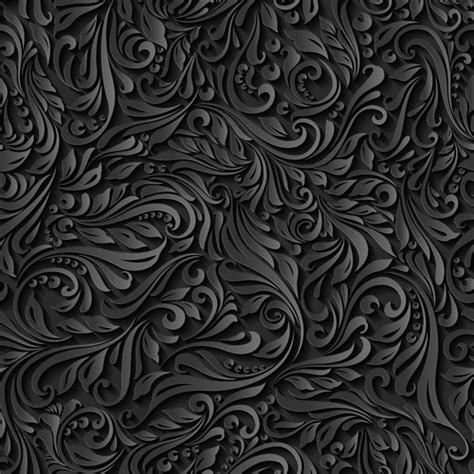pattern design black black paper floral seamless pattern vector free download