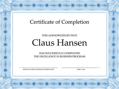 template for certificate of completion certificate of completion blue office templates