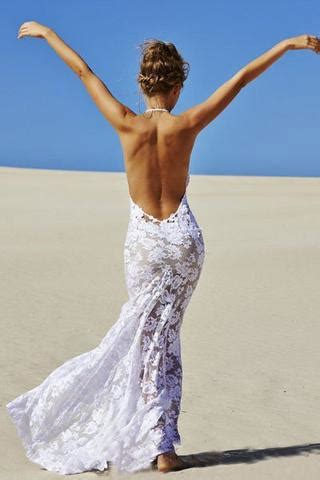 sexy mermaid lace white halter  neck backless beach