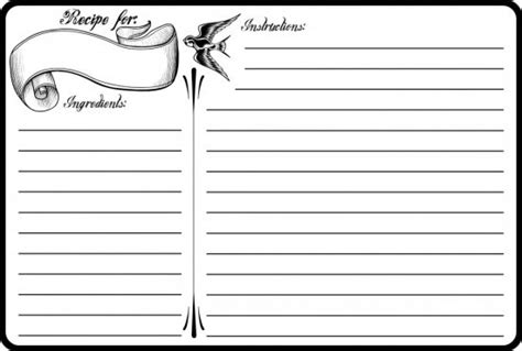 free black and white recipe card template word 40 recipe card template and free printables tip junkie