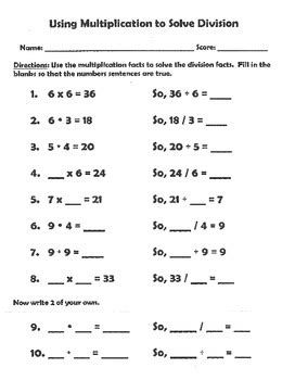 multiplication and division inverse operations worksheets