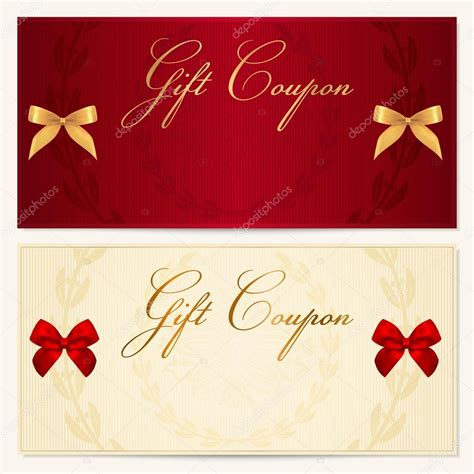 What To Do With Borders Gift Cards - gift voucher coupon invitation or card template with floral pattern border and red