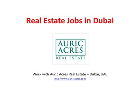 Mba In Real Estate Careers by Real Estate In Dubai