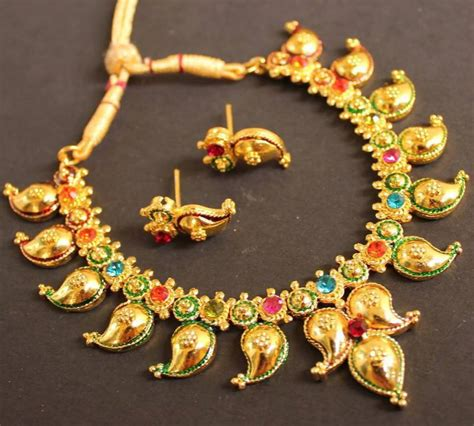 Online Home Decor Shopping In India by Buy Beautiful Gold Plated Multi Color Mango Necklace Online