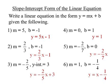 slope intercept form 2 5 objective to use slope intercept form to write