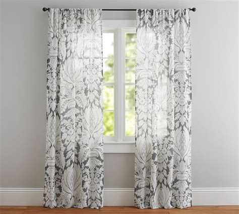 Sheer Printed Curtains Damask Printed Sheer Drape Pottery Barn