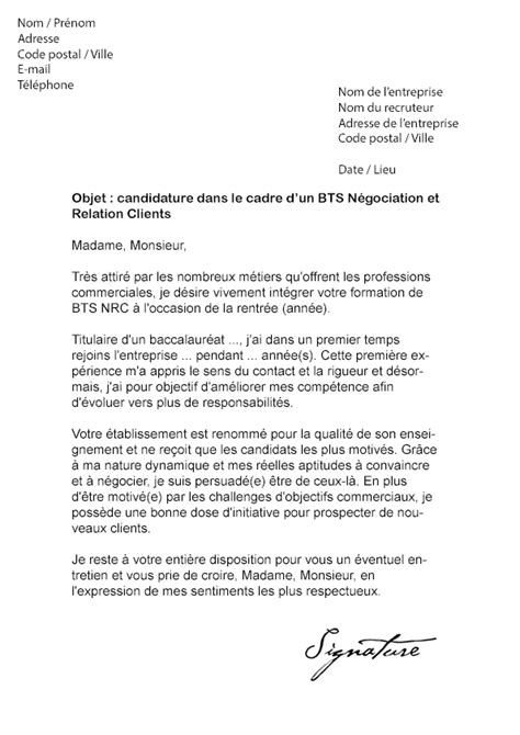Exemple Lettre De Motivation Bts Lettre De Motivation Bts Nrc Mod 232 Le De Lettre