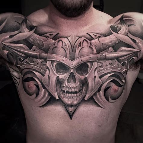 tattoo chest skull vire skull chest tattoo http tattooideas247 com