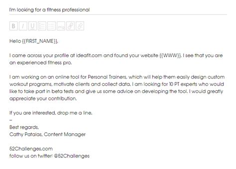personal trainer client profile template how to make my cold emails personal