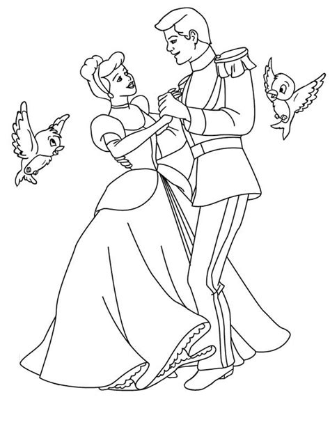 prince charming and cinderella dance wiht two little birds