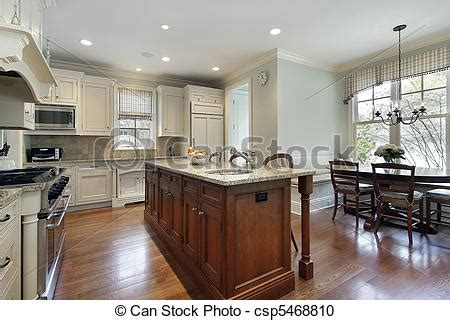 kitchen with eating area and island stock photography stock photography of kitchen with center island and eating