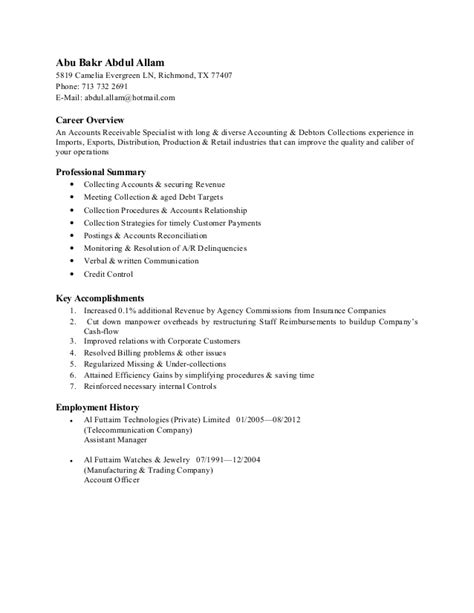 28 accounts receivable specialist resume sle best accounts receivable clerk resume