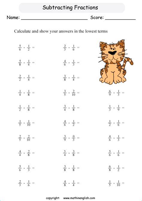 Subtracting Fractions Worksheets by Subtract Fractions With Unlike Denominators That Are