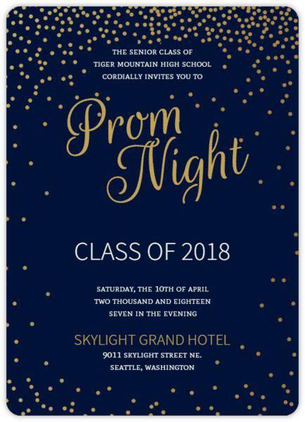 Golden Confetti Stars Prom Invitation Prom 2018 A Night In The Magic City Pinterest Prom Invitation Templates