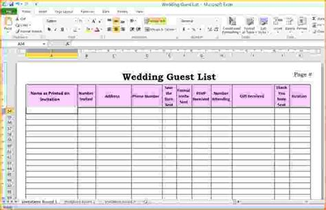 wedding guest list spreadsheet template 5 wedding guest list template excel teknoswitch