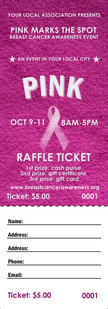 Breast Cancer Pink Ribbon Raffle Ticket Breast Cancer Raffle Ticket Template